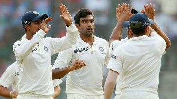 R Ashwin removed Kieran Powell and Darren Bravo before the end of play