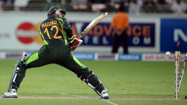 Abdul Razzaq was bowled off the first ball
