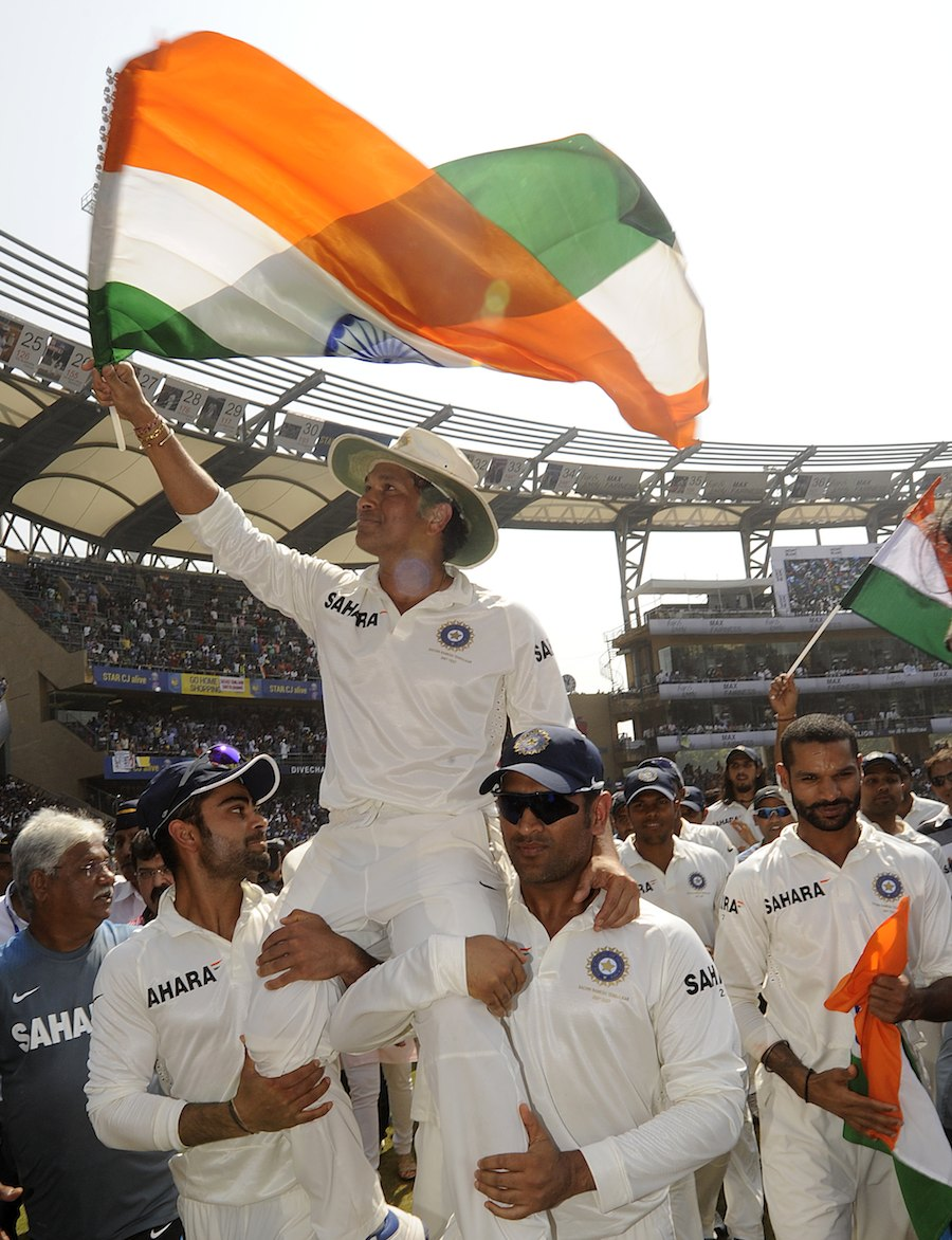 Sachin in his victory lap. Courtesy: Indiatv