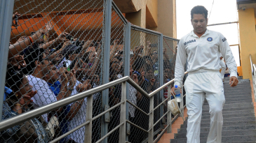 Sachin Tendulkar heads down to the presentation after his final Test