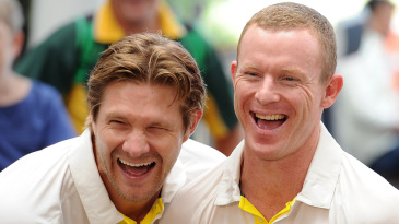 Shane Watson and Chris Rogers are in splits