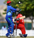 Bermuda's Malachi Jones misses the ball to be bowled, Afghanistan v Bermuda, ICC World T20 Qualifiers, Dubai, November 20, 2013