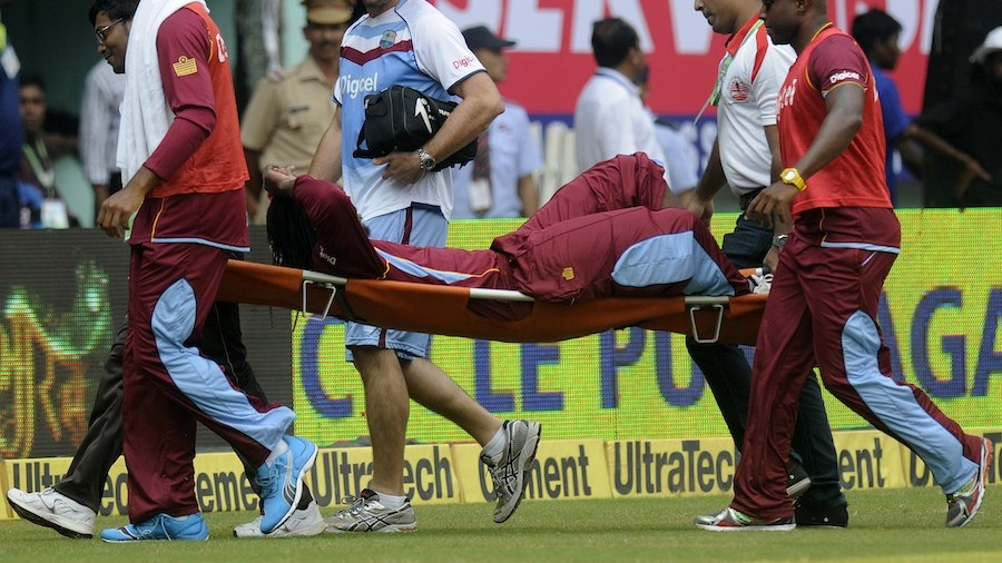 Chris Gayle was taken off the field on a stretcher