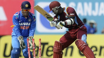 Marlon Samuels was bowled off a ball that kept really low