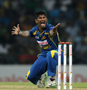 Ramith Rambukwella picked up his maiden T20 wicket, Sri Lanka v New Zealand, 2nd T20I, Pallekele, November 21, 2013