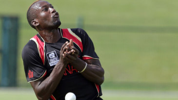 Kenneth Kamyuka tries to get under a catch