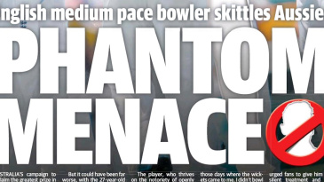 The front page of the <i>Courier Mail</I> does not mention the name of Stuart Broad, who took a five-for
