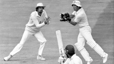 Zaheer Abbas is caught for 4 by keeper Bob Taylor