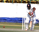 Hyderabad's Ravi Teja blocks one during his 73, Himachal Pradesh v Hyderabad, Ranji Trophy, Group C, Dharamsala, 3rd day, November 23, 2013