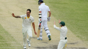Mitchell Johnson got Graeme Swann for the second time in the match