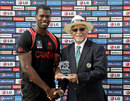 Jeremy Gordon receives the Man-of-the-Match award, Canada v Italy, ICC World Twenty20 Qualifier, Group A, Abu Dhabi, November 24, 2013