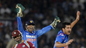 Marlon Samuels was caught behind by MS Dhoni for 8