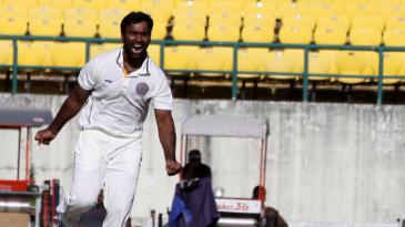 Alfred Absolem celebrates a wicket