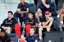 The Hong Kong players sit in their area during the Ireland v Hong Kong match at the ICC World Twenty20 Qualifiers at the Zayed Cricket Stadium on November 24, 2013 in Abu Dhabi, United Arab Emirates. (Photo by Graham Crouch-IDI/IDI via Getty Images)