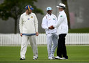 Shivnarine Chanderpaul and Aaron Redmond talk to Billy Bowden in between overs, New Zealand XI v West Indians, Tour match, 1st day, Lincoln, November 27, 2013