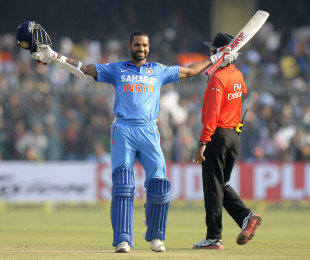Shikhar Dhawan made his fifth ODI century of the year to guide India's chase