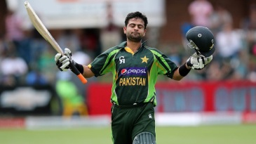 Ahmed Shehzad savours the moment after his third ODI hundred