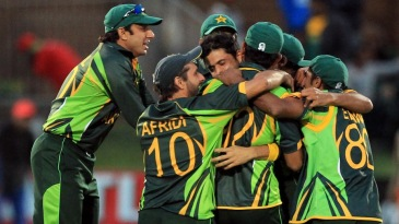 The Pakistan team celebrates its maiden ODI series win against South Africa