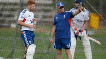 Jonny Bairstow takes instruction from Andy Flower