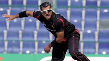 Moner Ahmed bowling during the Papua New Guinea v Hong Kong Qualifying Final match