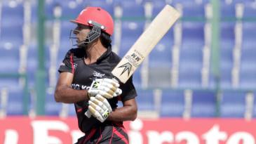 Tanwir Afzal batting during the Hong Kong v Nepal Quarter Final match