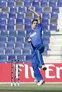 Izatullah Dawlatzai in his delivery stride, Afghanistan v Nepal, ICC World T20 Qualifier, 1st semi-final, Abu Dhabi, November 29, 2013