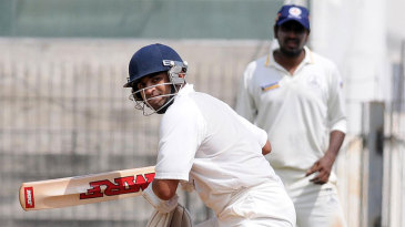 Jaydev Shah guides the ball to third man during his unbeaten 133
