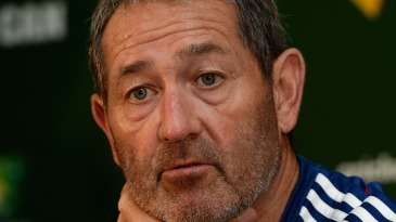 Graham Gooch speaks to the media