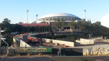 Work continues on the pedestrian bridge over the River Torrens