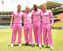 The South African players in their pink kit on the eve of the first ODI against India, Johannesburg, December 4, 2013