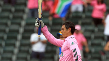 Quinton de Kock celebrates his second ODI century