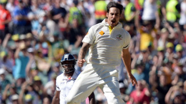 Mitchell Johnson leaps in celebration of removing Alastair Cook