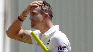 Kevin Pietersen walks off after a cheap dismissal