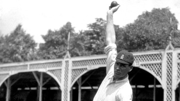 Sydney Barnes demonstrates his bowling action