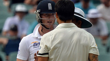 Ben Stokes and Mitchell Johnson had to be separated by the umpire