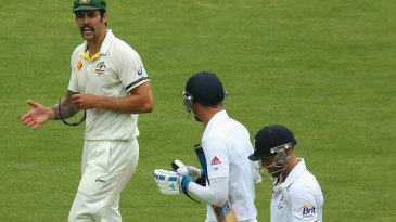 Mitchell Johnson and Stuart Broad continued their discussion after the close