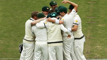 The Australians celebrate after going 2-0 up in the series