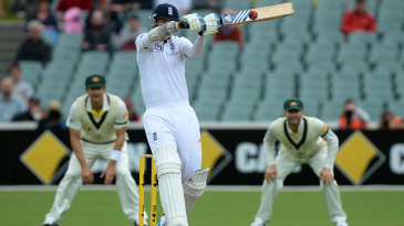 Stuart Broad hooks the fourth ball of the day for six