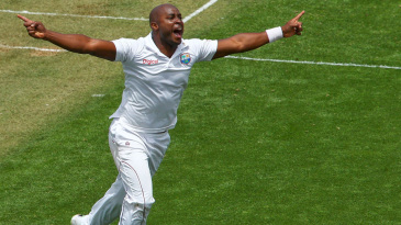 Tino Best is pumped up after removing Kane Williamson