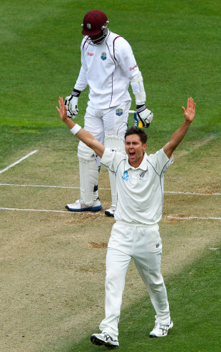 Trent Boult appeals unsuccessfully for the wicket of Kirk Edwards, New Zealand v West Indies, 2nd Test, Wellington, 2nd day, December 12, 2013