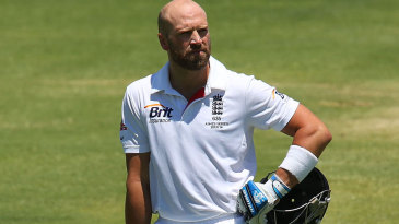 Matt Prior watches as the umpire's check for a no-ball on his dismissal