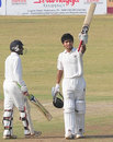 Akshay Darekar is pleased after scoring a maiden first-class fifty, Kerala v Maharashtra, Ranji Trophy 2013-14, Group C, 2nd day, Kannur, December 15, 2013