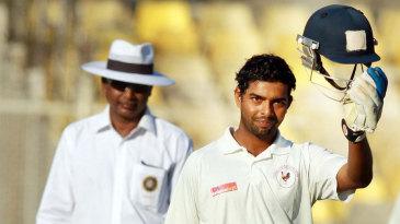 Bhargav Merai celebrates his second first-class century