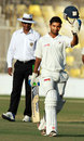 Bhargav Merai celebrates his second first-class century, Gujarat v Haryana, Ranji Trophy 2013-14, Group A, 3rd day, Ahmedabad, December 16, 2013