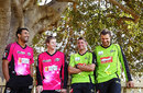 Ravi Bopara, Steven Smith, Michael Hussey and Dirk Nannes at a joint Sydney Sixers-Sydney Thunder BBL media event, Sydney, December 20, 2013