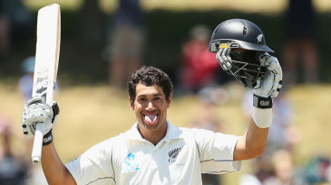 Ross Taylor celebrates a century in his own inimitable style