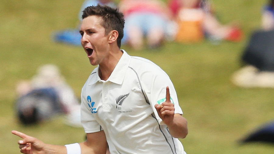Trent Boult is ecstatic after picking up a wicket