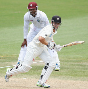 Kane Williamson works one away to the off side, New Zealand v West Indies, 3rd Test, Hamilton, 4th day, December 22, 2013