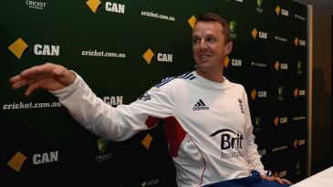 Graeme Swann at a press conference announcing his retirement from international cricket