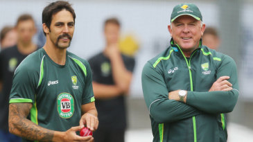Mitchell Johnson and Craig McDermott at a training session